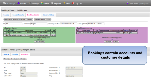 Booking Accounts and Customer Details
