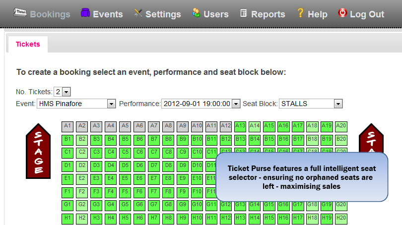 Sample Screen Shot of Ticket Purse Back Office Solution